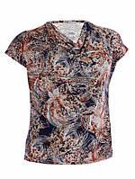 Блузка с драпировкой - Цветы коричневый (масло)