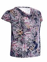 Блузка с драпировкой - Цветы розовый (масло)