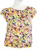 Блузка с цветочным рисунком - Желтый с темным цветком