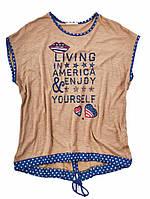 Женская футболка с надписью и шнурком - коричневый