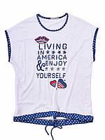Женская футболка с надписью и шнурком - белый