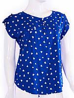 Блуза с сердечками - голубой
