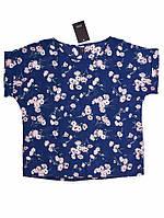 Блуза с цветами - Синяя с цветами