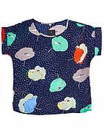 Блуза с цветами - Синяя с маками