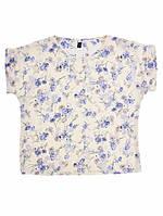 Блуза с цветами - Светлая, сиреневые цветы