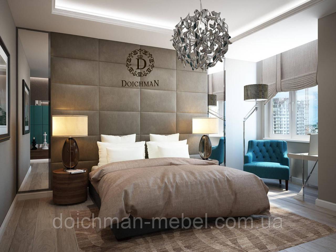 Кровать в спальню с большой стеновой панелью на всю стену