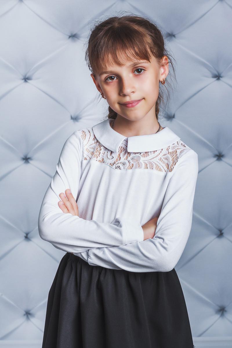 Блузка для девочки с вискозы белая