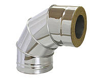 Колено 90° для дымохода из нержавеющей стали с теплоизоляцией в оцинкованном кожухе