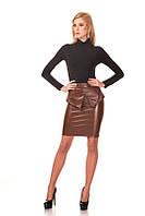Классическая женская юбка. Коричневый кожа