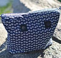Синяя подкладка с принтом якорей для каучуковых сумок CREGO, O bag, Lime and Soda, Am Bag размер Classic