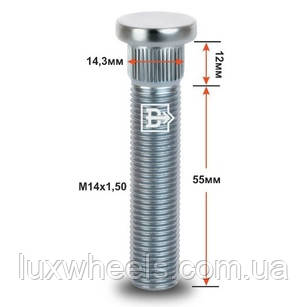 Шпилька забивная CRP143D55 M14X1,50 длина рез.части 55мм Цинк