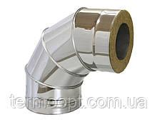 Колено 90° диаметром 100/160 из нержавеющей стали в оцинкованном кожухе с теплоизоляцией