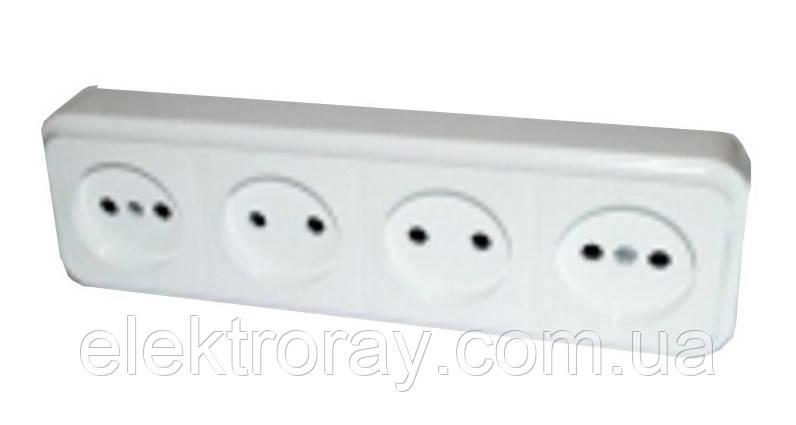 Розетка четверная Светоприбор белая, цена 37,10 грн., купить в ... c3666d44fd7