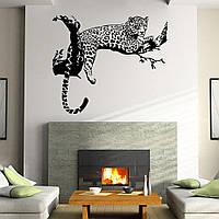 Наклейка виниловая Леопард на ветке 3D декор