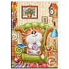 """Картина для рисования камнями Алмазная вышивка """"Кот с будильником """""""