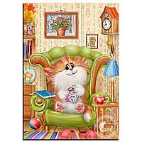 """Картина для рисования камнями Алмазная вышивка """"Кот с будильником """" , фото 1"""