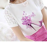 Блуза с рисунком (Фабричный Китай) креп шифон.рисунок украшен стразами размер s m