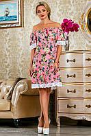 Розовое платье из креп-шифона,с цветочным принтом, с открытыми плечами, размеры 42-52