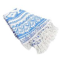Пляжный коврик Мандала голубой, 150см