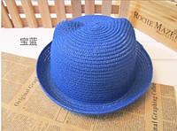 Модная женская соломенная шляпка с ушками синяя
