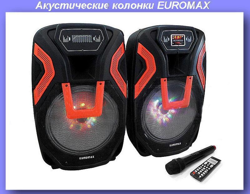 Акустические колонки EUROMAX 69x45x33см, 2х350Вт, Bluetooth, микрофон, пульт ДУ (EU-9999BT) Подробнее: https:/