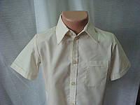 Классическая рубашка для мальчика короткий рукав бежевая