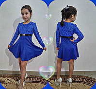 Платье для девочки нарядное длинный рукав красное, синее, зеленое с поясом