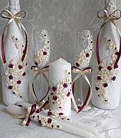 Свадебные бокалы цвет марсала айвори Новинка