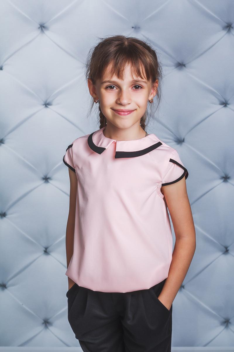 Блуза школьная короткий рукав персик