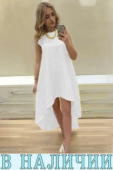 Легкое асимметричное платье  свободного кроя Feder S, White