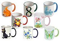 Чашка с Вашим дизайном Two Tone Mug, с цветной ручкой и каймой, фото 1