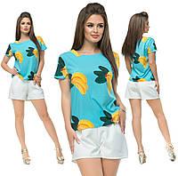"""Летний женский костюм-двойка """"Фрутти"""" с футболкой (3 цвета)"""
