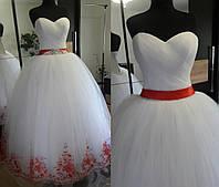 """Свадебное платье """"Лилия"""" (бело-красное)"""