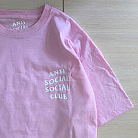 Футболка Anti Social social club мужская розовая. Живые фото
