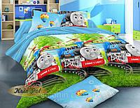 """Детский комплект постельного белья для мальчика """"Паровозик Томас"""" ."""