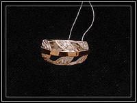 Серебряное женское кольцо с золотыми пластинами модель 111