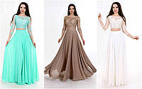 Вечернее платье-обманка с гипюровым верхом мод.G0849 (р.40-46)