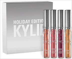 Рідка матова помада KYLIE Matte Holiday Edition набір 4 шт кольору репліка