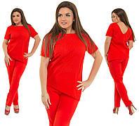 """Летний брючный женский костюм """"Lusi"""" с асимметричной блузой (большие размеры)"""