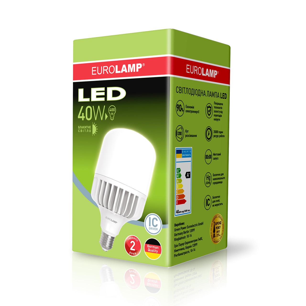 Высокомощная led-лампа Eurolamp LED 40W E27/Е40 4100Lm Ra85(LED-HP-40276)