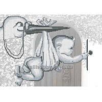 Схема для вышивания бисером Аист с ребенком БИС3-117 (А3)