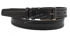 Мужской кожаный прочный подростковый ремень черного цвета 3 см (100571)