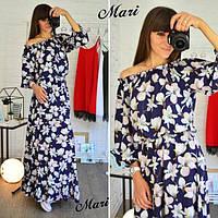Женское стильное платье в пол принт цветы  МСХ 209