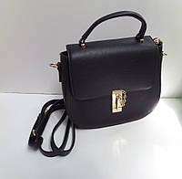 Модная женская маленькая сумка черная на замочке
