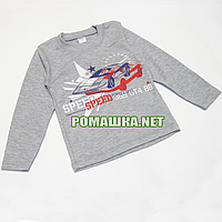 Детский реглан (джепмер, свитшот, футболка с длинным рукавом) р. 104 для мальчика ткань 100% хлопок 3695 Серый