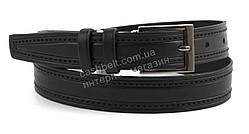 Мужской кожаный прочный подростковый ремень черного цвета 3 см (100570)
