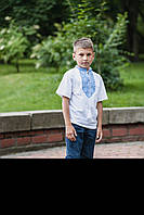Вышиванка-футболка школьная для мальчика белая с синей вышивкой