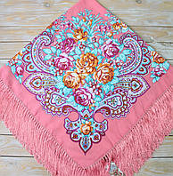 Яркий женский платок с цветами (135х135 см, коралловый, 80%-шерсть)