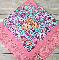 Яркий женский платок с цветами (135х135 см, коралловый, 80%-шерсть), фото 1