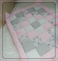 Одіяло із лоскутків в стилі пейчворк рожево-сірих тонах 1101